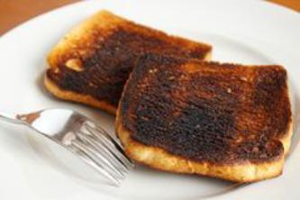 pan tostado quemado